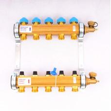 """Коллекторная группа HKV с регулировочными и термостатическими вентилями WATTS Ind 1""""x3/4""""ЕК 5 выходов"""