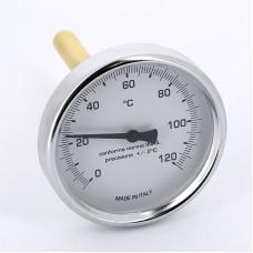 Термометр биметаллический 80мм с погружной гильзой EMMETI 120 град.C гильза 100мм
