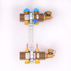 """Коллекторная группа HKV/T с термостатическими вентилями и расходомерами WATTS Ind 1""""x3/4""""ЕК 2 выхода"""