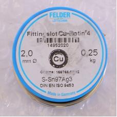 Припой мягкий Cu-Rotin®4 2мм на шпуле FELDER 250г